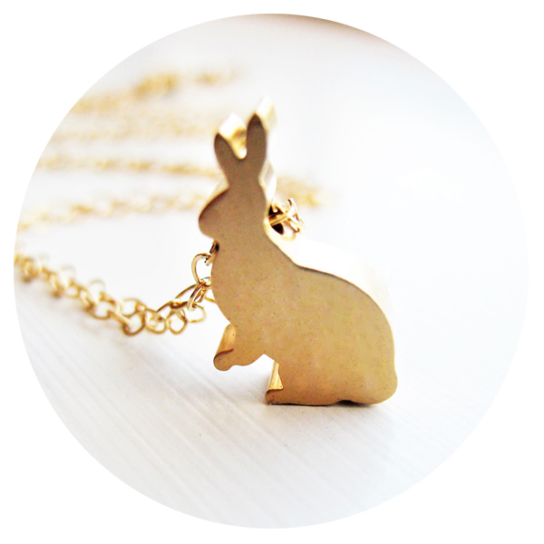 Gold Bunny Easter Jewelry Necklace