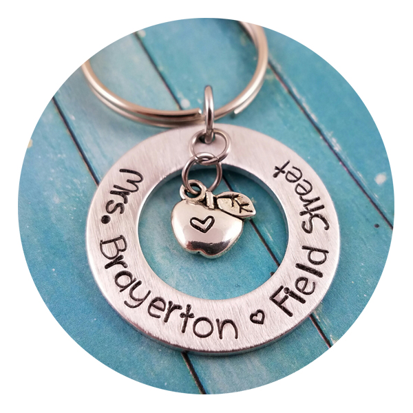 Handstamped Apple Keychain