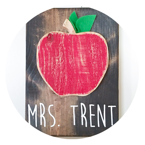 Teacher Apple Wood Sign