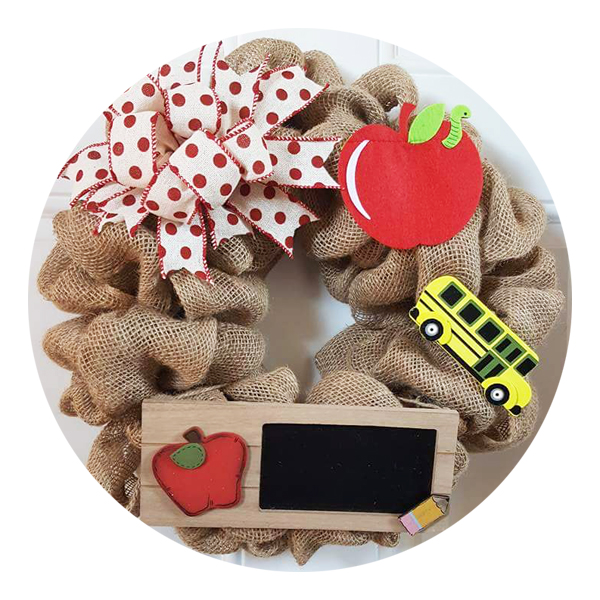 Teacher Welcome Wreath Burlap