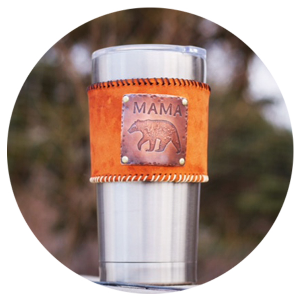 Mama Bear Leather Cup Sleeve